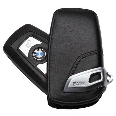 Genuine Leather Car Key Case Sport Line FOB Holder For BMW 2 3 5Series X3-Black