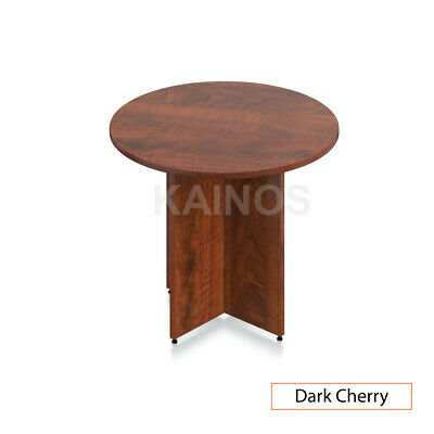 Gof 36 Round Table With Cross Base Dark Cherry 36w X 36d X 29.5h