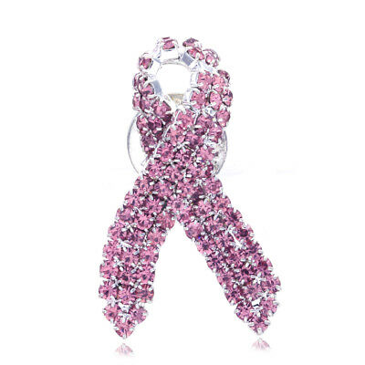 Breast Cancer Awareness Support Month Survival Accessory Pink Ribbon Brooch Pin
