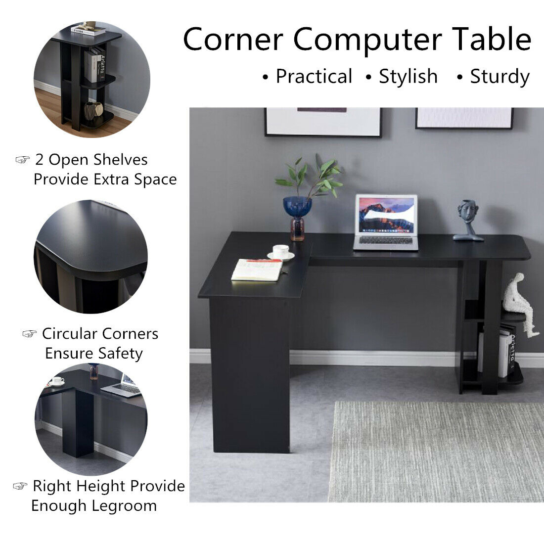 Black L-Shaped Corner Computer Desk Home Office Writing Tabl