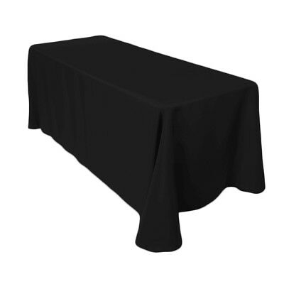 """Black Table Cover Cloth 70"""" x 144"""" Rectangle Polyester for Decoration of Party"""