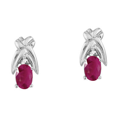 14k White Gold 6x4mm Oval Ruby and Diamond Stud Earrings 14k 6x4mm Oval Ruby Earring