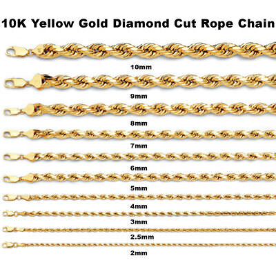 - 1MM to 10MM 10K Yellow Gold Diamond Cut Rope Chain Necklace 16