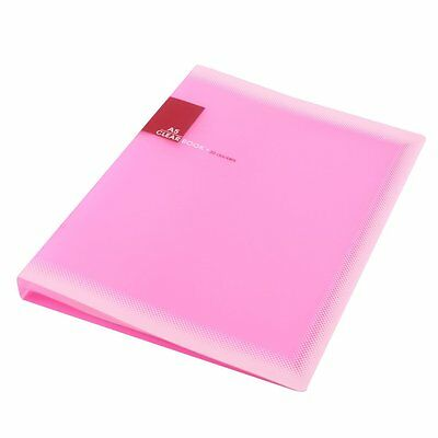 Plastic A5 Paper 20 Pockets File Document Folder Holder Pink N3