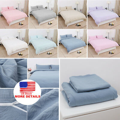 Cotton Duvet Cover Bedding Sets Pillowcases Twin/Double/Queen/King/ & 11 Colors Double Duvet Cover Sets
