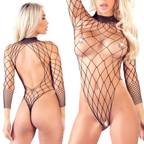 Netz String-Body S M L Damen Dessous durchsichtig schwarz Langarm