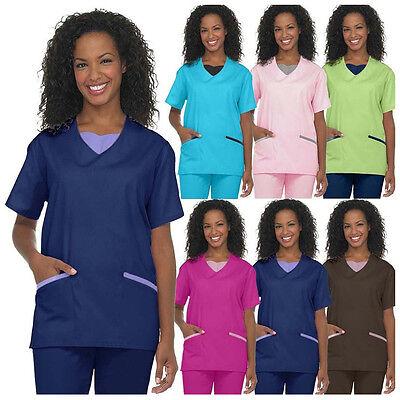 Medical Nursing Women Scrub NATURAL UNIFORMS Contrast JERSEY
