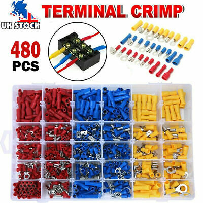 480x Electrical Cable Wire Connectors Assorted Insulated Crimp Terminals Spade Y