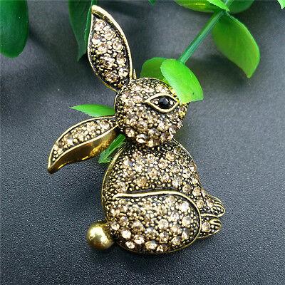 Pretty Golden Crystal Rhinestone Rabbit bunny Animal Gold-plated Brooch Pin Gift