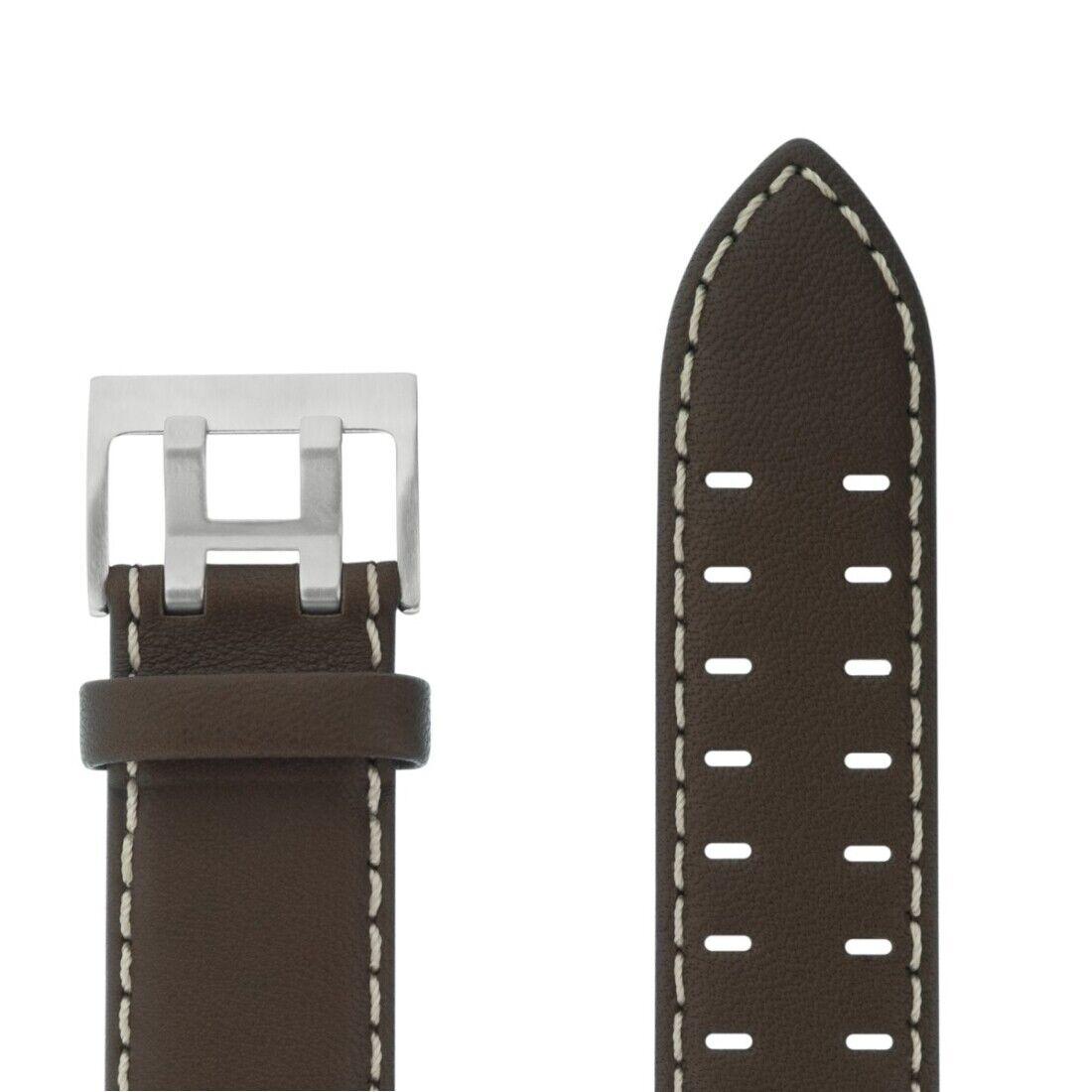 Uhrenarmband Armband  Leder 20 mm Breit braun mit heller Naht von Junkers