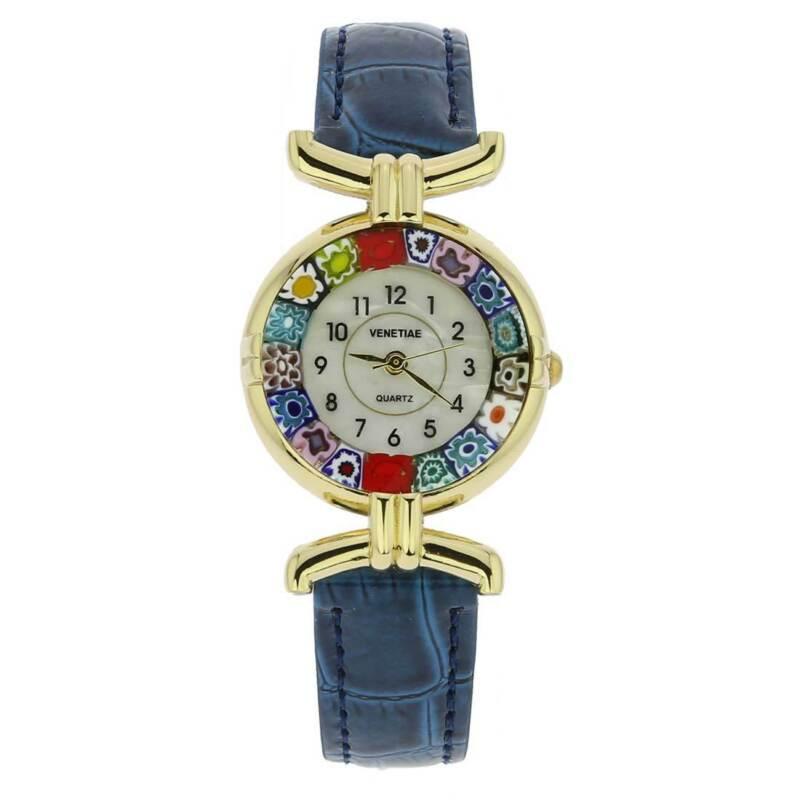 GlassOfVenice Murano Glass Millefiori Watch with Leather Band - Blue