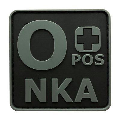 Blood Type O+ Positive NKA ACU Hook Patch [3D-PVC Rubber-2.0 X 2.0 inch -BP4]
