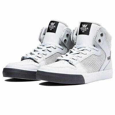 Supra Men's Vaider Hi Top Sneaker Shoes Lt Grey-Lt Grey/Dk G