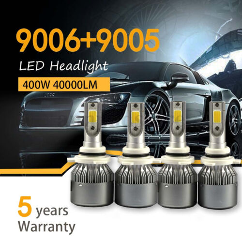 4PCS 9005 9006 LED Total 400W 40000LM Combo Headlight High 6000K White Kit Bulbs