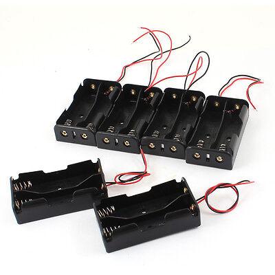 6 Pcs Black Plastic 2 x3.7V 18650 Type Battery Holder Box Case LW