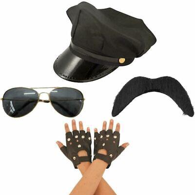 Mens 80s Biker Hat Moustaches Gloves Glasses Set Village People Cosplay - Village People Biker Kostüm