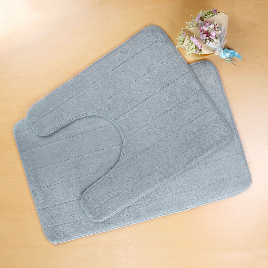 2PCS Non-Slip Bathroom Rug Mat Memory Foam Contour Floor Rug Carpet Pad Sets