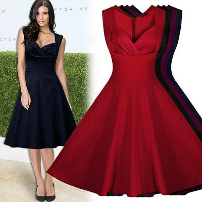 Damen Ärmellos Cocktailkleid Abendkleid Vintage 1950er Petticoat ...