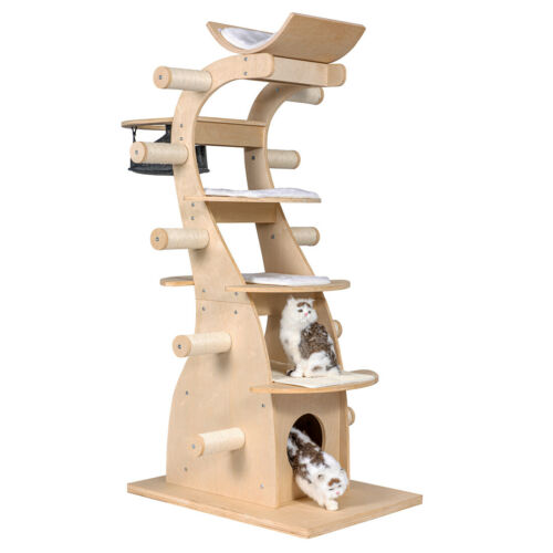 "63"" Modern Design 6 floors Solid Wood Deluxe Cat Tree Indoor Condo Climb Tower"