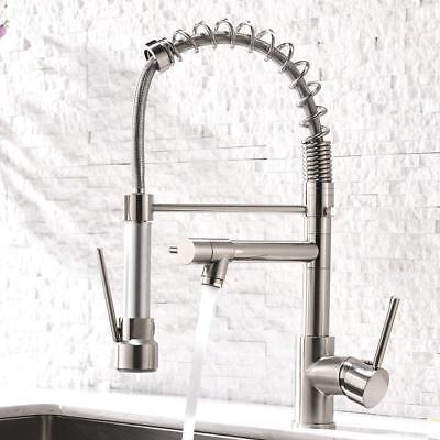 Kitchen Sink Faucet with Pull Down Sprayer Brushed Nickel Spring Mixer  - Spring Pull Down Faucet