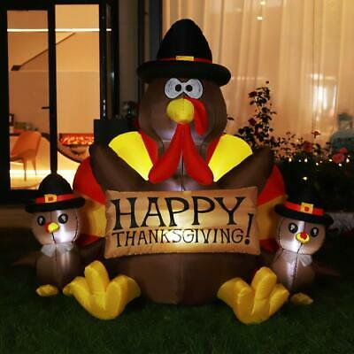 6Ft Thanksgiving Inflatable LED Lighted Turkey Family Blow Up Outdoor Yard Decor