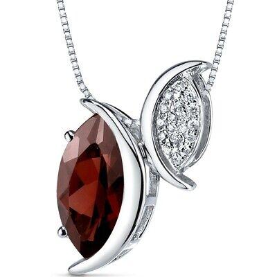 Garnet Diamond Pendant 14Kt White Gold Marquise Cut 2.4 Carats