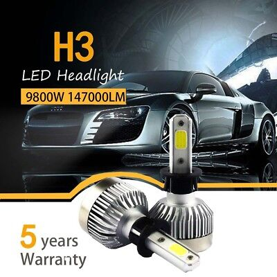 Usado, Pair H3 980W 147000LM Car LED Headlight Bulbs Conversion kit 6000K White comprar usado  Enviando para Brazil