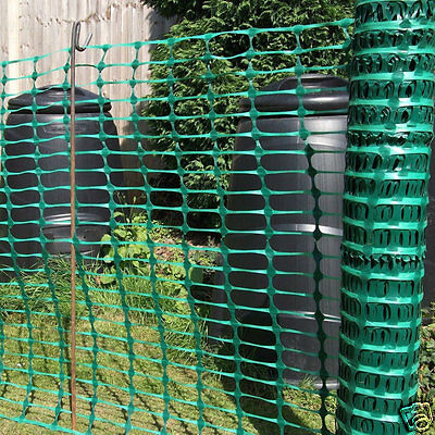 1m x 50m Green Plastic Mesh Barrier Safety Buidling Fence 7kg & 20 Fencing Pins