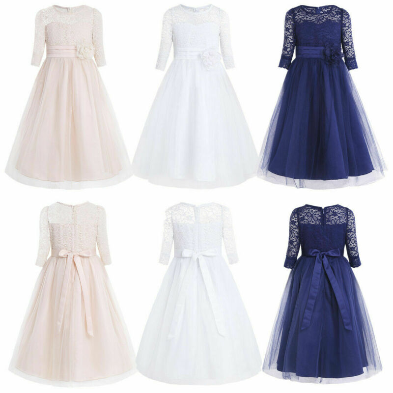 Flower Girl Princess Pageant Long Dress Formal Bridesmaid Lace Gown for Baby Kid