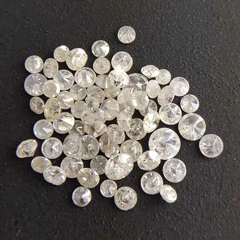 1/2 Ct Round White Natural Diamond Stone Wholesale Mix Lot Size 1.00-2.50 mm