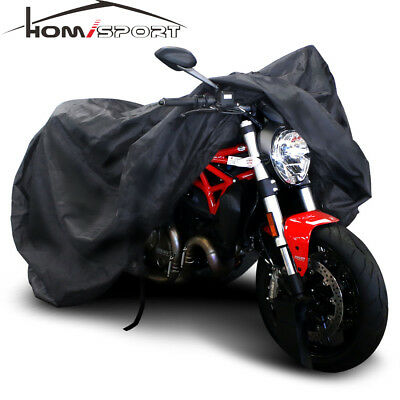 XXL Universal Motorcycle Cover Black Waterproof Windproof All-Weather Protection