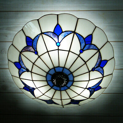 - 3-Lights Tiffany Style Stained Glass Semi Flush Mount Ceiling Light Lamp Fixture