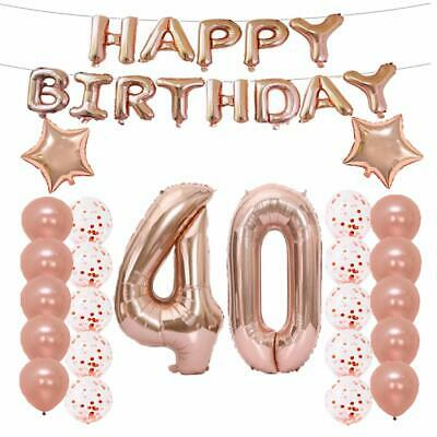 40th Birthday Party Decorations Rose Gold Number 40 Decorations Banner Supplies - 40th Birthday Party Decorations