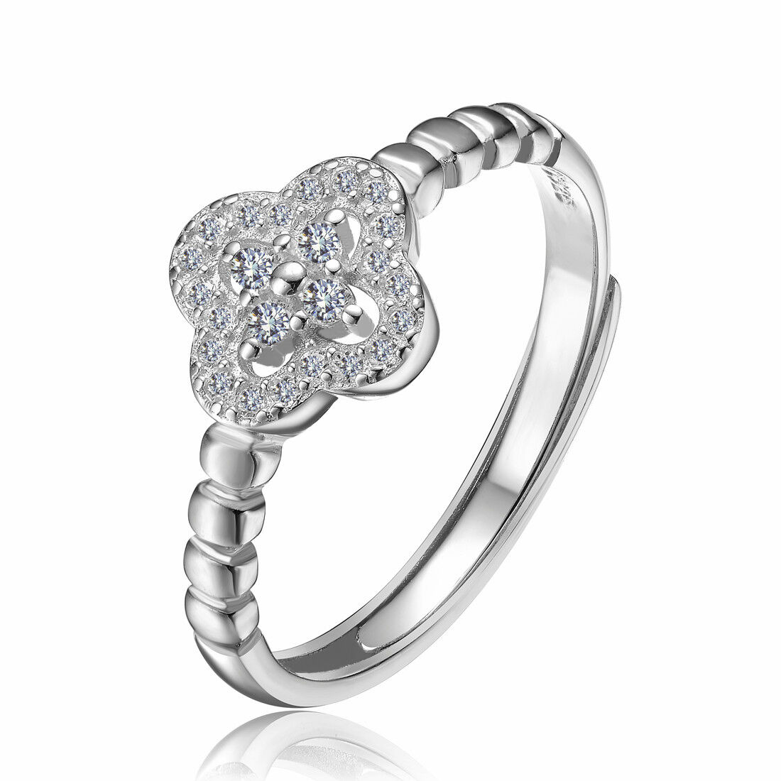 CCJewelry 925 Sterling Silver Zircon Flower Women Promise Adjustable Open Ring Fashion Jewelry