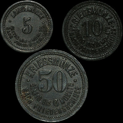NOTGELD: 5, 10 & 50 Pfennig 1917. Funck 90.1, 2 & 4. STADT DEGGENDORF / BAYERN.