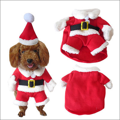 Pet Small Dog Cat Santa Claus Costume Outfit Jumpsuit Clothes For Christmas - Cat Santa Costume