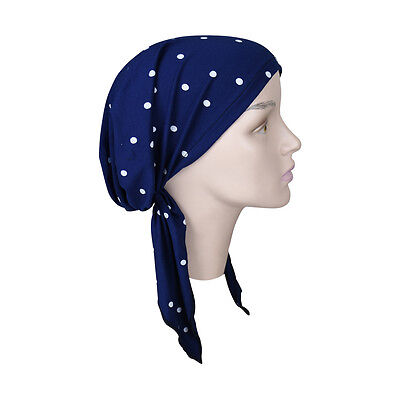 Polka Dot Bandana (Pretied Bandana Navy Polka Dot Headscarf  Chemo Modest Womens Head)
