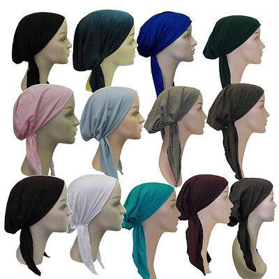 Womens Pretied Headscarf Solid Color Alopecia Cancer Tichel Chemo Turban - Cancer Color