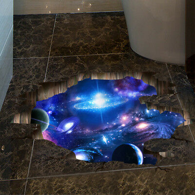 3D Outer Space Wall Stickers Home Decor Mural Art Removable Galaxy Wall (Outer Space Wall Mural)
