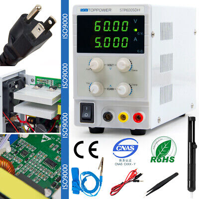 Digital Dc Power Supply Variable Bench Lab 60v 5a Alligator Leads Us Power Cable