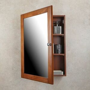MEDICINE CABINET Oak Finish Single Framed Mirror Door Surface Mounted Bathroom & Surface Mount Medicine Cabinet | eBay