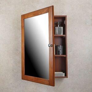 MEDICINE CABINET Oak Finish Single Framed Mirror Door Surface Mounted Bathroom & Oak Medicine Cabinet | eBay