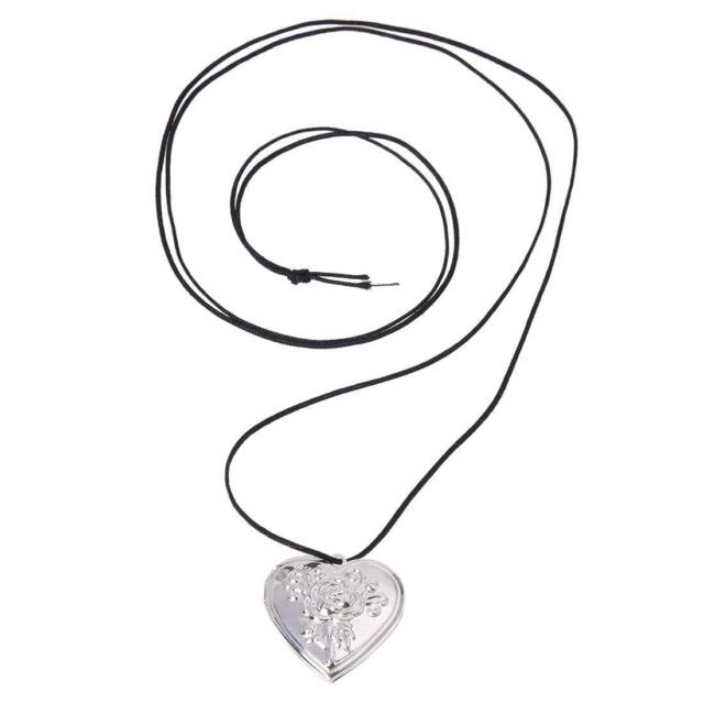 "Rose Silver Plated Heart Pendant Necklace Locket 1.1"" V6L7 Y6H4"