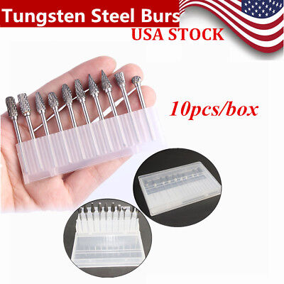 10 Tungsten Steel Dental Carbide Burs Tooth Drill 2.35mm For Marathon Polishing