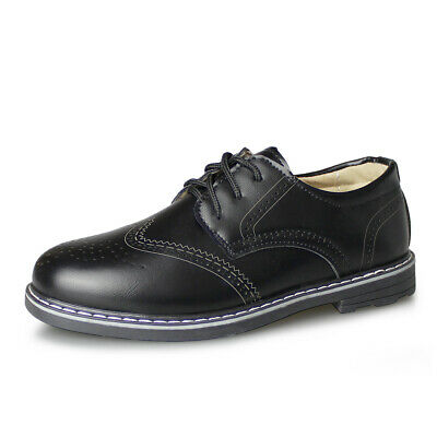 New Boys Brogue Classic Dress Shoes Black Lace Up Kids Formal School Oxford - Kids Dress Shoes