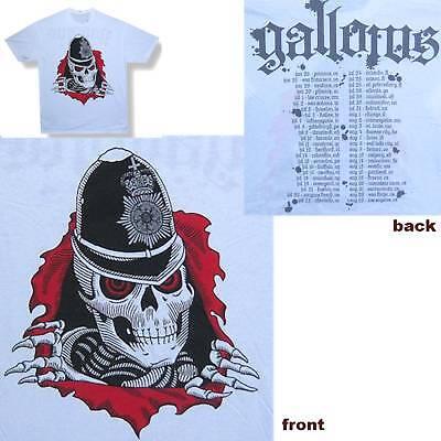 GALLOWS! POLICE SKELETON/BOBBY TOUR WHT T-SHIRT L NEW!