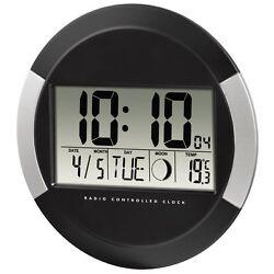 Clock wall Digital Calendar Temperature Interior Moon Phase Office House
