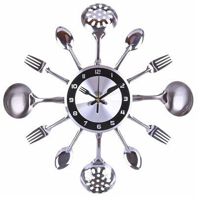 Kitchen Wall Clock Stainless Steel Mediterranean Style Home Decoration Accessory Stainless Steel Kitchen Clock