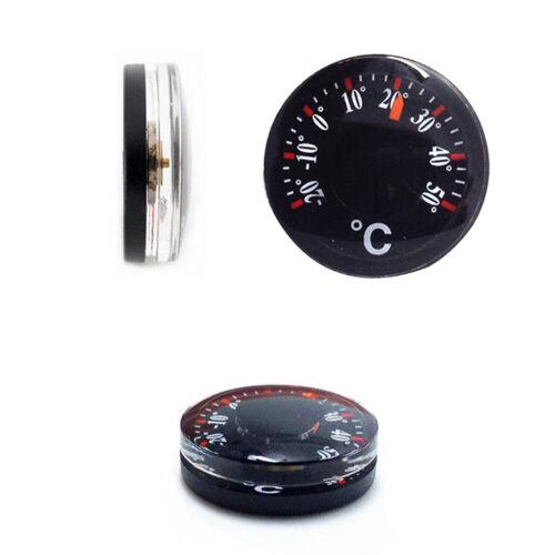 2pcs Portable Black Thermometer Plastic Round Pointer Temperature Sensor Tools T