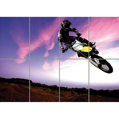 Motocross Dirt Bike Stunt Giant Wall Mural Art Poster Print 47x33 Inches